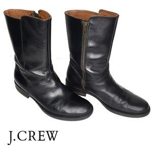 J. Crew Black Leather Boots Mid-Calf